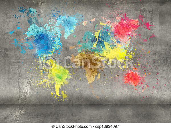 world map made of paint splashes on concrete wall background - csp18934097