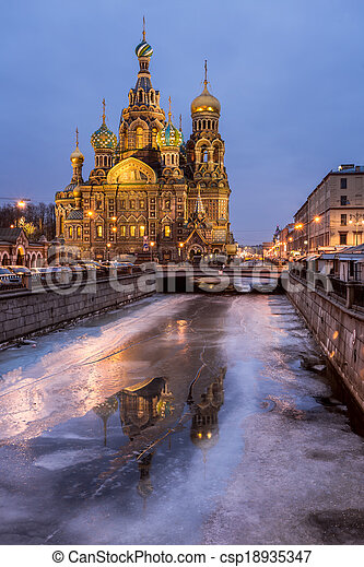 Church of the Savior on Spilled Blood in the Morning, Saint Petersburg, Russia - csp18935347