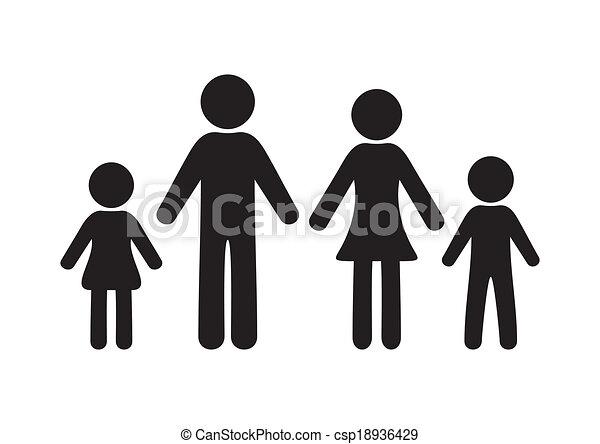 Ilustraciones de vectores de familia negro vector - Familias en blanco y negro ...