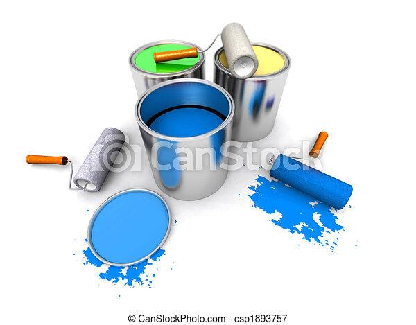 Maler und lackierer clipart  Stock Illustration von maler, farbe, rolle, dosen - a, 3d, render ...