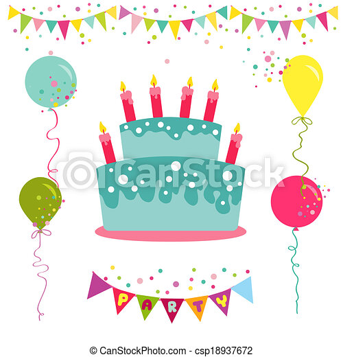 Happy Birthday and Party Invitation Card - with place for your text - in vector - csp18937672