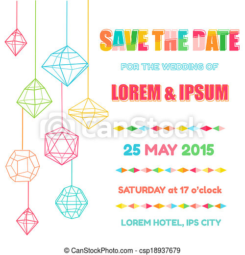 Save the Date  - Wedding Invitation Card with Colorful Geometric Design - in vector - csp18937679