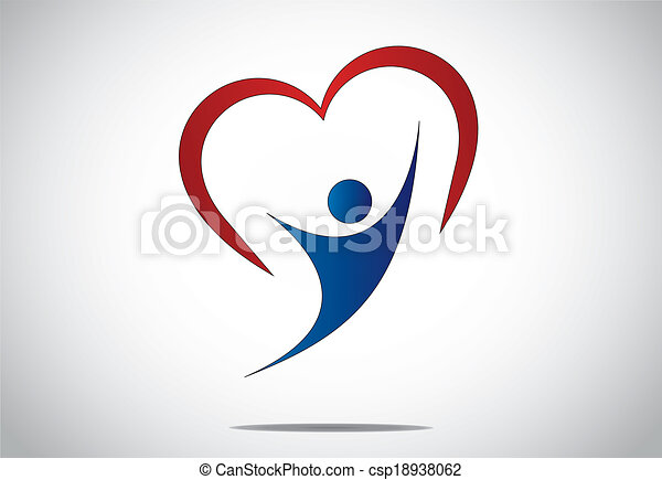 happy young person jumping with joy & happiness with red heart. youthful girl or woman dancing with both hands up with red colorful heart shaped symbol behind - concept design illustration art - csp18938062