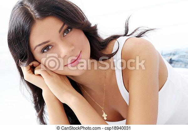 Stock Photos Of Beautiful Brunette On The Floor Cute