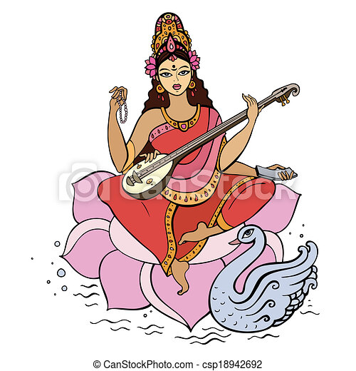 EPS Vectors of Hindu Goddess Saraswati. Vector hand drawn ...
