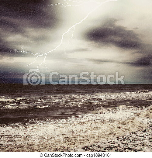 Thunder and rain in ocean