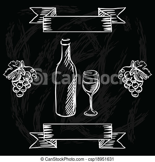 Vectors of restaurant or bar wine list on chalkboard for Wine chalkboard art