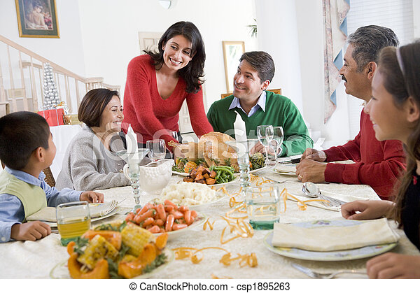 Family All Together At Christmas Dinner - csp1895263