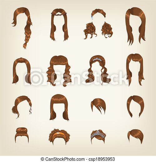 Clipart Vector Of Set Of Female Brown Hair Set Of