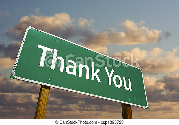 Thank You Green Road Sign - csp1895723