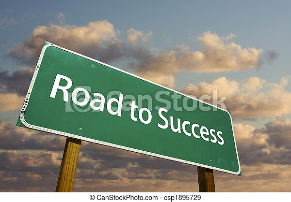 Road to Success Green Road Sign - csp1895729