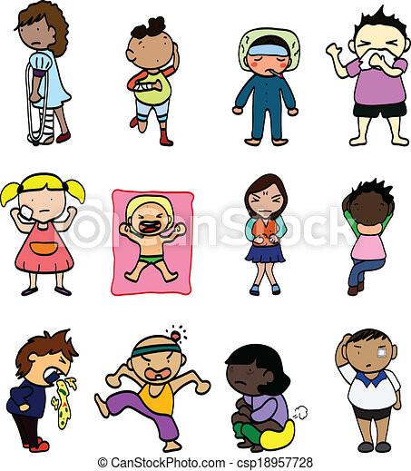 Vector Illustration of Cartoon Sick Character - illustration Feel ...
