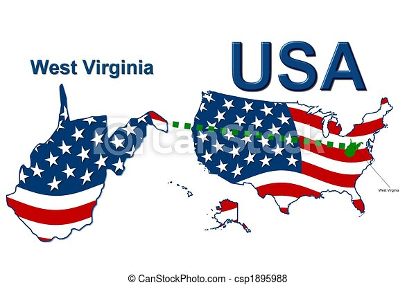 Stock Illustration of USA state of West Virginia in stars and ...