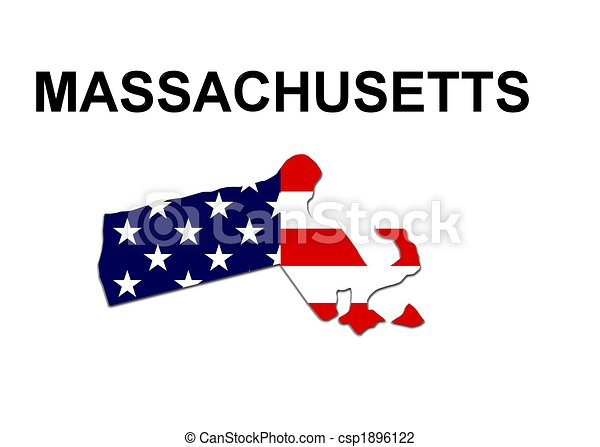 USA state of Massachusetts in stars and stripes design - csp1896122