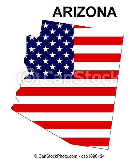 USA state of Arizona in stars and stripes design - csp1896134