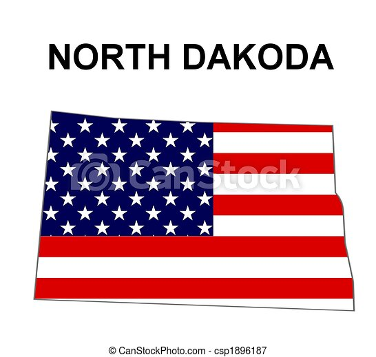 USA state of North Dakota in stars and stripes design - csp1896187