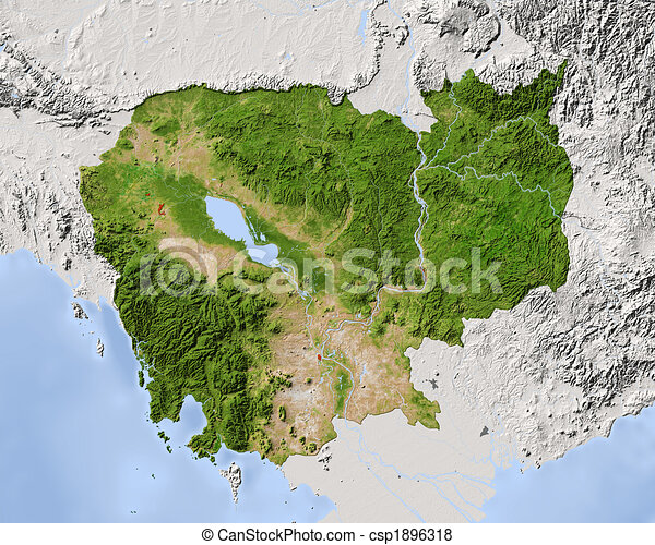 Cambodia, shaded relief map. - csp1896318