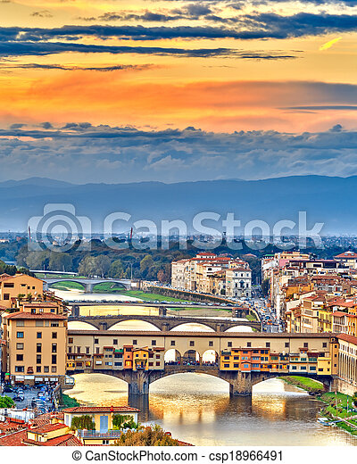 Bridges over Arno river in Florence - csp18966491