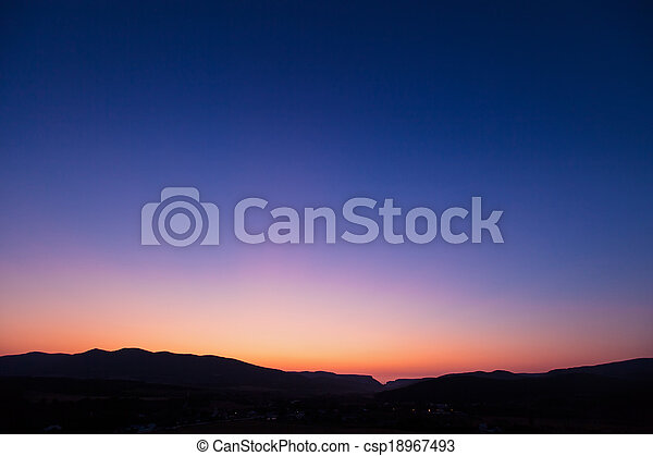 Vivid sunset sky over Belbek canyon in Crimea - csp18967493