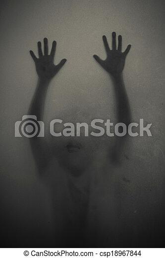 a girl silhouette behind a transpar - csp18967844