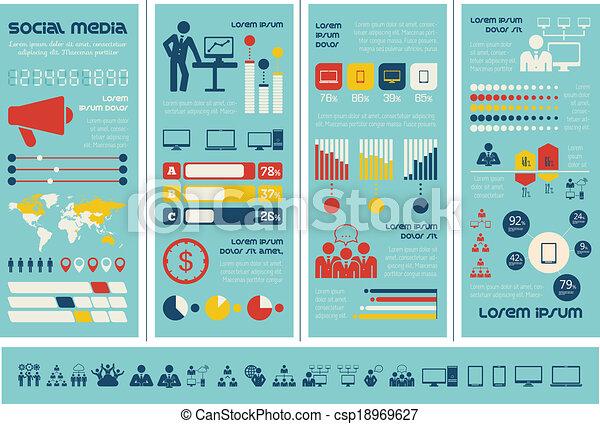 Vector Illustration of Social Media Infographic Template. - Flat ...