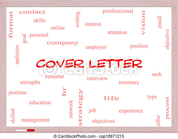 cover letter word cloud concept on a whiteboard with great terms such