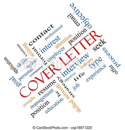 cover letter word cloud concept angled with great terms such as
