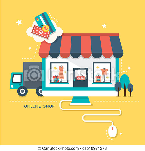 Vectors illustration of flat design illustraton concept of for Outlet design online