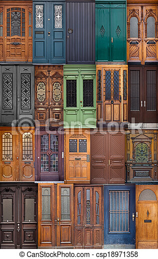 Stock images of 20 different european front entrance doors for European front doors