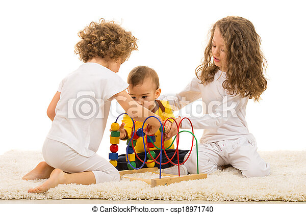 Children playing with wooden toy home - csp18971740