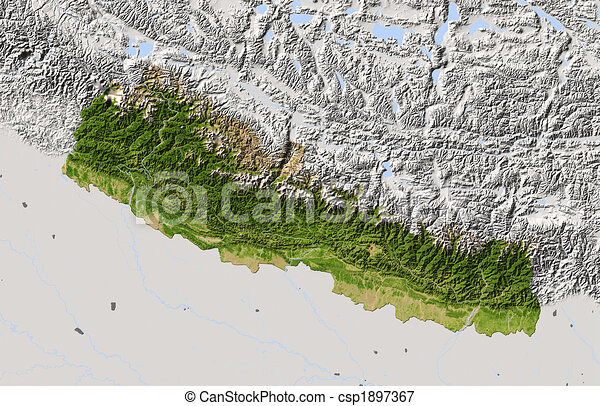 Nepal, shaded relief map. - csp1897367