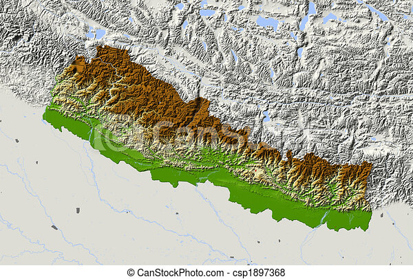 Stock illustration of nepal shaded relief map colored according to
