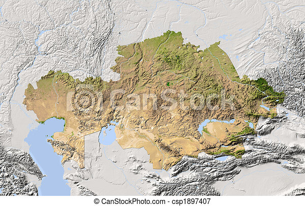 Kazakhstan, shaded relief map. - csp1897407
