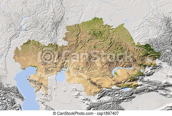 Kazakhstan, shaded relief map. - csp1897407