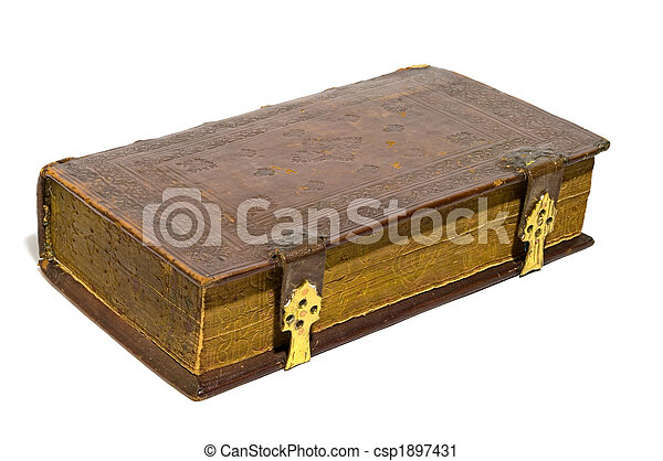 läder, hårt, täcka, gammal, Stor, bok, isolerat, över, vit, guld, Knäppe - csp1897431