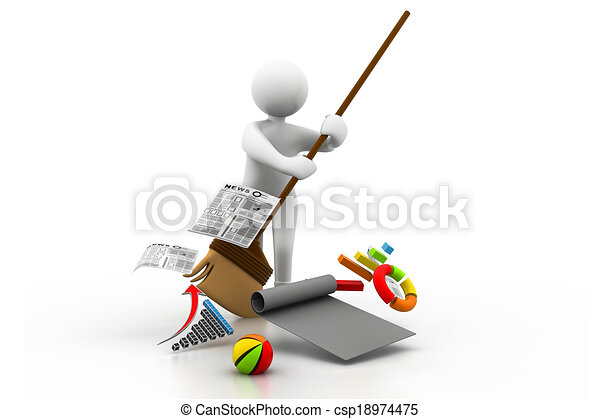 Man cleaning the business chart - csp18974475