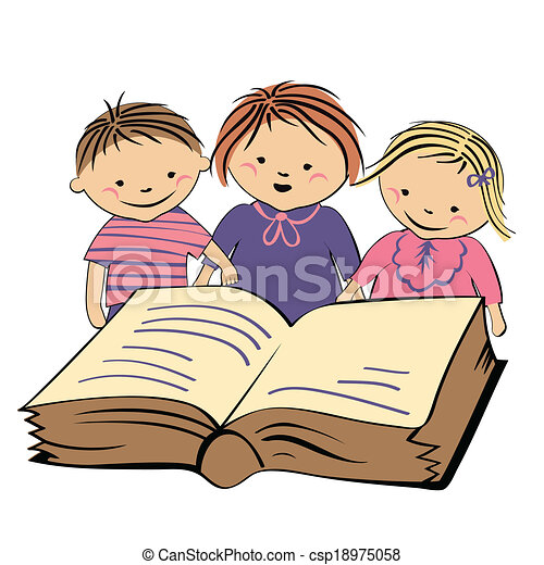 vector vector children reading a book - Child Drawing Book