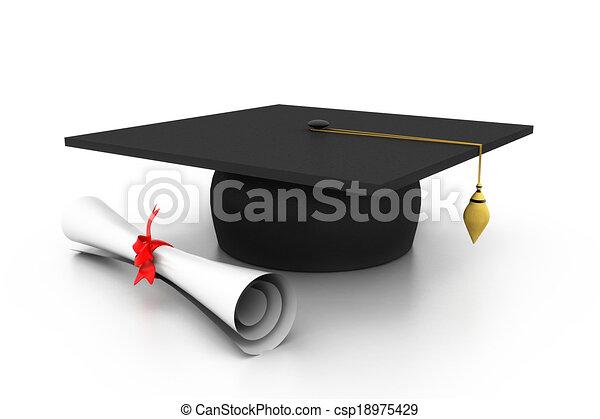graduation cap with diploma - csp18975429