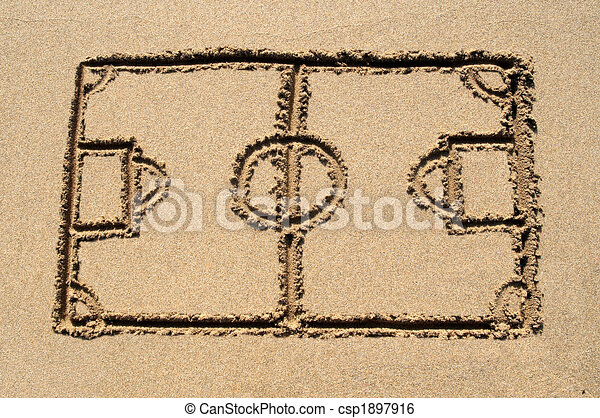 A soccer pitch drawn on a sandy beach. - csp1897916