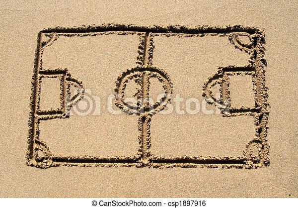 A soccer pitch drawn on a sandy beach. - csp1897916