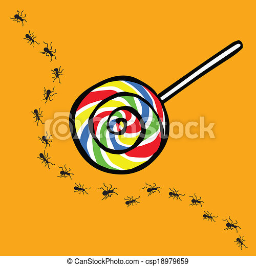 Clipart Vector of ant and lollipop , uninterested concept ...