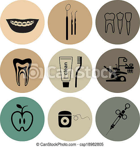 Dental icons in color - csp18982805