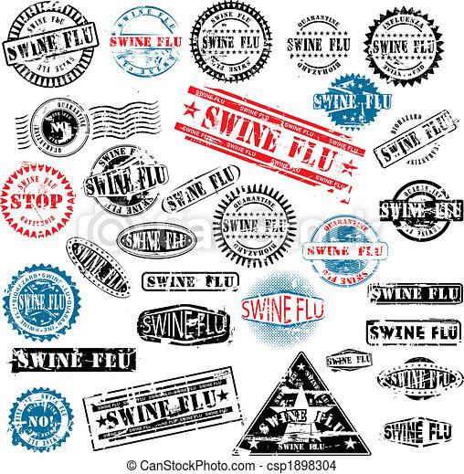 Rubber stamps Swine Flu grunge - csp1898304