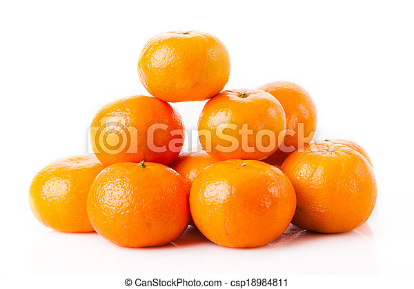 ripe juicy tangerine on a white background. Clementine Mandarin Oranges - csp18984811