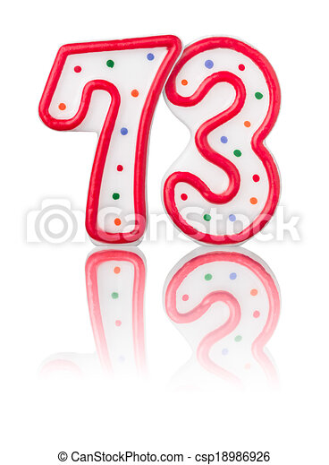 clip art of red number 73 with reflection on a white