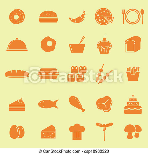 Food color icons on yellow background - csp18988320