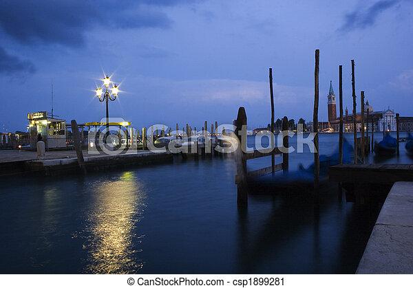 Grand Canal, gondolas, in the back San Giorgio Maggiore at dawn, Venice, Italy, Europe - csp1899281
