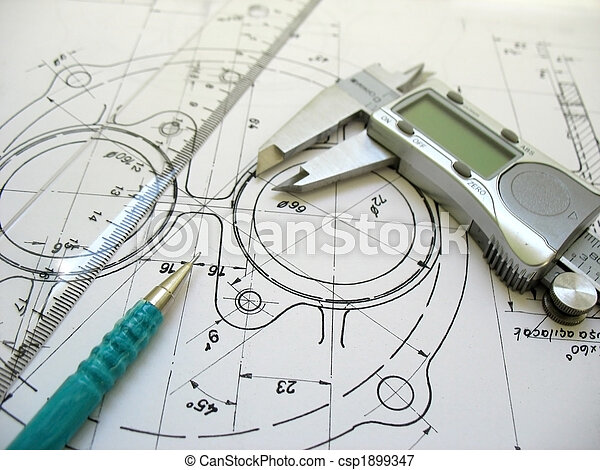 Engineering tools on technical drawing. Digital caliper, ruler and mechanical pencil. - csp1899347