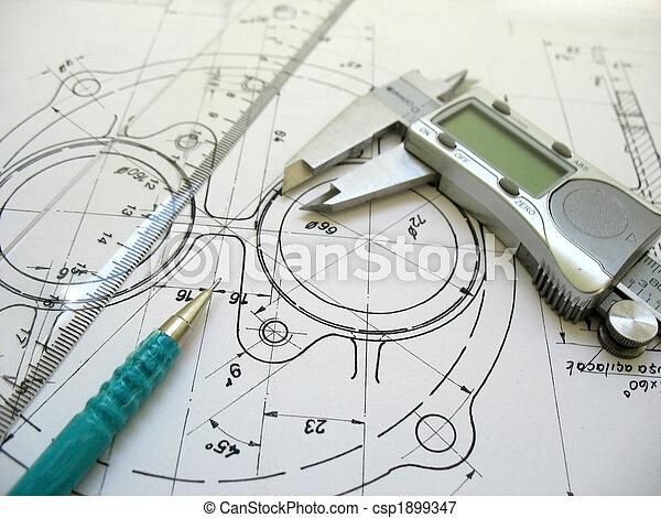 técnico, regla,  digital, dibujo, ingeniería, herramientas, mecánico, Calibrador, lápiz - csp1899347