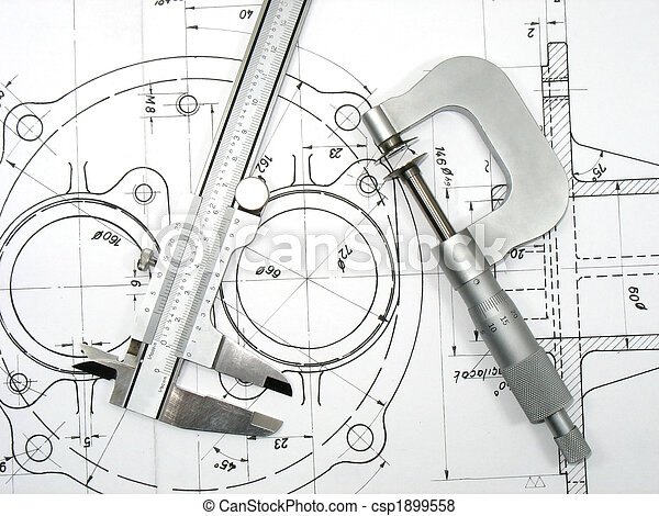 Caliper and Micrometer on technical drawings 2 - csp1899558